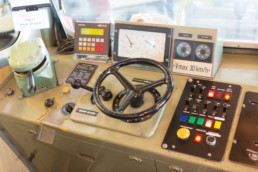 view in the cockpit of the Grütschalp train