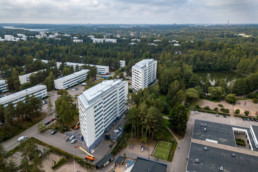 Different angle - interesting residential building at Kivisaarentie in Vuosaari.