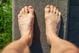 feet, in colour
