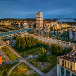 Central Vuosaari lit by the evening sun.