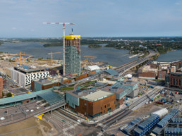 REDI shopping centre and the high-rise majakka being built.