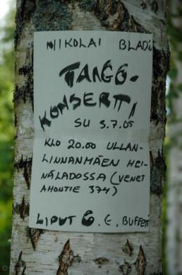 Nikolai Blad's concert announcement, Joutsa, Finland.