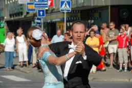 Tangomarkkinat opening ceremony. People dancing tango on the streets of Seinäjoki, Finland.