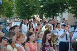 Tangomarkkinat opening ceremony. Tango singing contestants parading the opening ceremony on the streets of Seinäjoki, Finland.