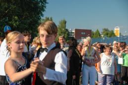 Tangomarkkinat opening ceremony. People dancing tango on the streets of Seinäjoki, Finland Tangomarkkinat opening ceremony while the tango singing contestants sing.