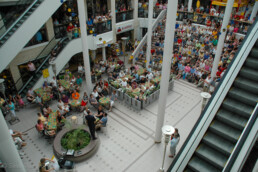 Singing contestants performing at the local mall, Seinäjoki, Finland.