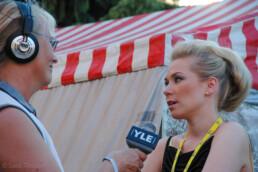 Yle News interviewing Johanna Pakonen, winner of the singing contest 2004.